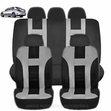 NEW GRAY & BLACK POLY AIRBAG READY SEAT COVERS COMBO 9PC SET FOR CARS 2123