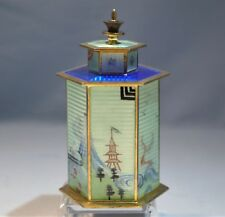 Rare Norwegian Silver Gilt Guilloche Enamel Chinese Pagoda Tea Caddy J. Tostrup
