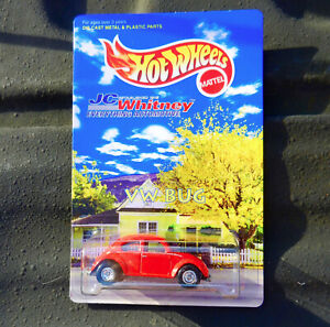 """HOT WHEELS RED VOLKSWAGEN OVAL WINDOW BEETLE """"JC WHITNEY"""" W/REAL RIDERS FROM '98"""