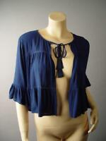 Navy Blue Tie Front Tiered Babydoll Boxy Swing Cropped Shrug 282 mv Jacket S M L