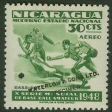 Nicaragua 1949 Baseball 30c Waterlow sample in green