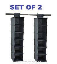 NEW 6 POCKET SET OF 2 CLOTHES SHOES ORGANISER HANGING SWEATER STORAGE SHELF RACK