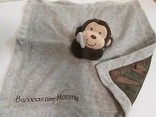 Carters Just One Year Blue Monkey Blanket Lovey Rattle Bananas Over Mommy EUC