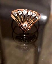 Russian Vintage Amazing Design Rose Gold Ring Peacock 14k 583 CZ Stones