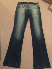 """R&b Jeans Flared Front Pocket Size 10 Hipster Worn Once 32"""" Leg 70s Style"""