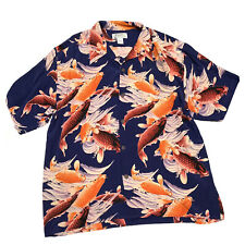 Avanti Silk Hawaiian Shirt XXL Loop Collar Koi Carp Blue Vintage Coconut Shell