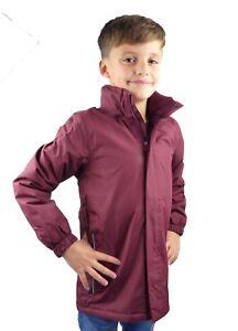 Kids Waterproof Regatta Jacket Fleece Lined Burgundy Hood Ideal For School
