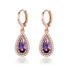 18K Rose Gold Filled Pear Shaped Purple Amethyst  Dangle Hoop Earrings Jewelry
