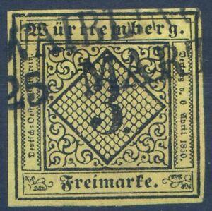 =Württemberg Mi.Nr.2 yV gestempelt tiefst geprüft Irtenkauf BPP - 25 M€=
