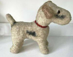 """Vintage Fox Terrier Stuffed Toy Dog 10"""" for Display"""