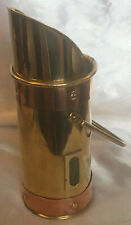 Vintage Brass And Copper Long Match Holder. Scuttle. Fireplace.