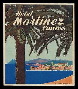 Hotel Martinez CANNES France - vintage luggage label