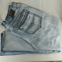 GS-115 Mens Denim Jeans Big and Tall Size W48 x L33 Light Blue Distressed Rivets