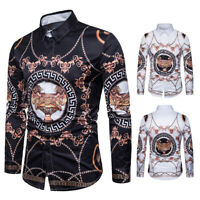 Mens Fashion Baroque Luxury Casual Slim Fit Stylish Long Sleeve Dress Shirts