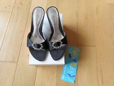 """DOLCIS Black Diamante Detail Mule Occasion Shoes Sandals 2.5"""" Midi Heels Size 5"""