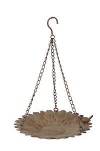 Blütenschale Deko zum hängen, Vogelbad braun Eisen Shabby Landhaus Garten