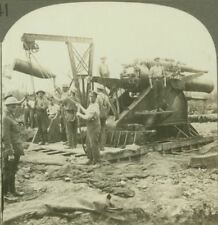"""Feeding """"Grannie"""" - 1000lb Shell being hoisted into position - WW1 Stereoview"""