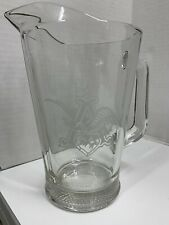 Anheuser Busch Beer Pitcher Etched Eagle Emblem Heavy Glass 48 oz. 10� Tall
