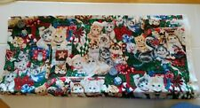 Cotton Fabric CATS KITTENS Christmas Print 2 Yards  Free US Shipping