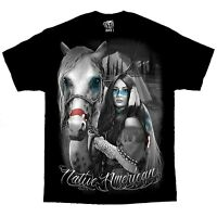 Native American Indian Girl Horse David Gonzales DGA Chicano Art T Shirt