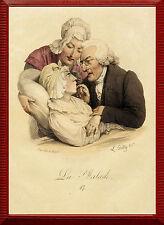 Die Kranke, La Malade , Boilly Medizin Lithographie, Graphik 1827 - altkoloriert