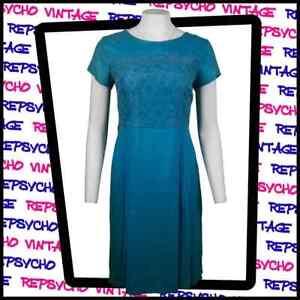 Vintage 1960s Cóctel Vestido Azul Talla UK 14 376G