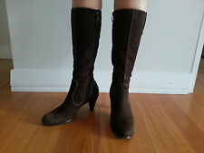 Braska Suede Leather Brown Heeled Boots Size 37