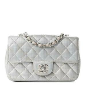 $4000 Chanel Classic Flap Metallic Quilted Pixel Effect Mini Rectangular Silver