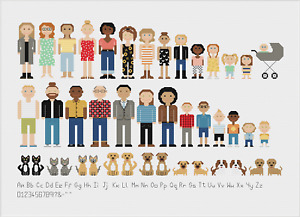 Melocharacters Custom Family and Friends Cross Stitch Kit by Meloca Designs
