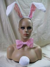 White & Pink Bunny Ear Headband Bow Tie Tail Rabbit Ears Cosplay Bugs Lola Babs