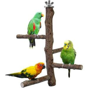 Wooden Parrot Budgie Bird Cage Perches Tree Branch V0B7 Grinding Toy Paw Y5M3