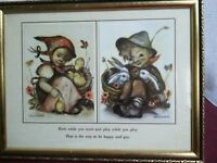 Vintage Hummel Germany Gold Wood Glass Frame Picture Print Boy & Girl RARE!