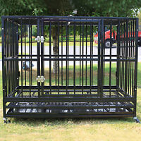 "42"" Heavy Duty Dog Cage Crate Kennel Metal Pet Playpen Portable w/Tray Black NEW"