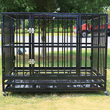 """42"""" Heavy Duty Dog Cage Crate Kennel Metal Pet Playpen Portable w/Tray Black NEW"""