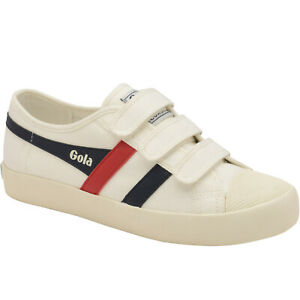 Gola Womens Coaster Strap Classic Hook & Loop Canvas Trainers Sneakers - White