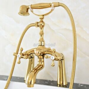 Gold Color Brass Deck Mount Clawfoot Bath Tub Filler Faucet Set Handheld Shower