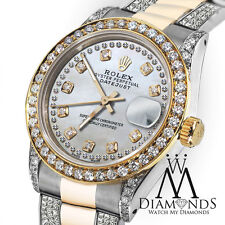 Women's 31mm Rolex Oyster Perpetual Datejust Custom White Color Diamonds Dial
