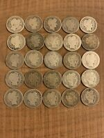 90% Silver Barber Dime Partial Set Of 25-All Different Dates/Mints