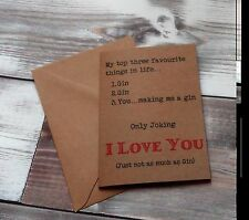 Funny Valentines Card, Gin Card, Rude valentines card, Funny birthday card.