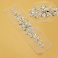 Rhinestone Crystal Sewing Tulle Applique for Wedding Dress Belt Sash Crafts DIY