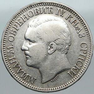 1879 SERBIA King Milan I Crown OLD ANTIQUE Silver 5 Dinar Serbian Coin i88391