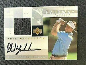 PHIL MICKELSON 2002 Fairway Fabrics Authentic Golf Shirt Swatch & Signature