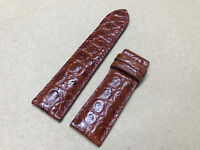 24mm/22mm Genuine Alligator Crocodile Leather Watch Strap Band - Red Brown Color