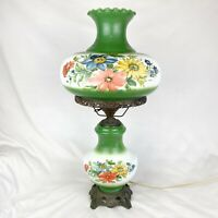 """Vintage 3-Way Hurricane Parlor Lamp Floral Painted Green 28"""" Gone with the Wind"""