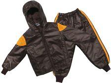 Childs Waterproof Jacket & Trousers Rainsuit Kids Childrens Boys Brown 18M-2YRS