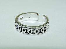 Sterling Silver, Curly Q design Adjustable Toe Ring. Free Shipping in Usa !