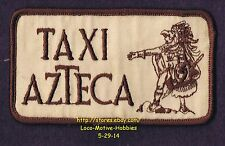 """LMH PATCH Badge TAXI AZTECA Cab Service Cartoon Logo Old Style Brown 4-1/2"""" used"""