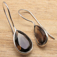 SMOKY QUARTZ Drop Gems Cute New Earrings 925 Silver Plated Over Solid Copper