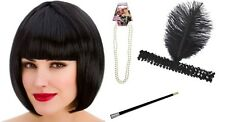 Black 20s Flapper Kit Charleston Gatsby Gangster Fancy Dress Accessory Inc. Wig