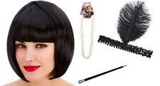 Black 20s Flapper Kit Charleston Gatsby Gangster Fancy Dress Accessory Inc. Wig